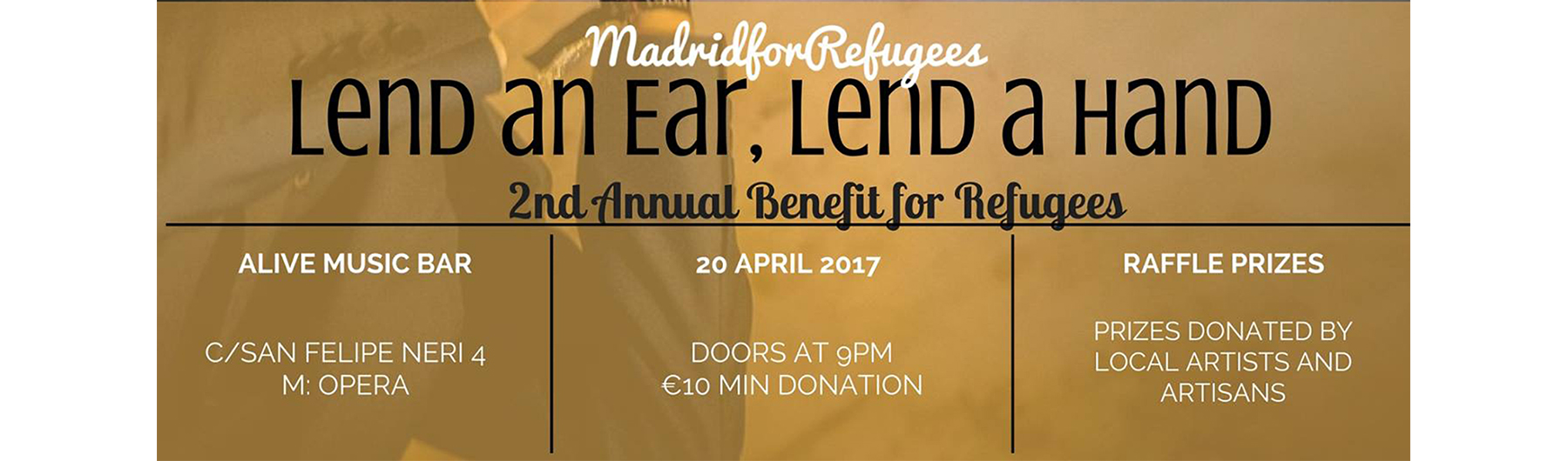 Ticket donation payment page for April 20th Refugee Benefit Concert