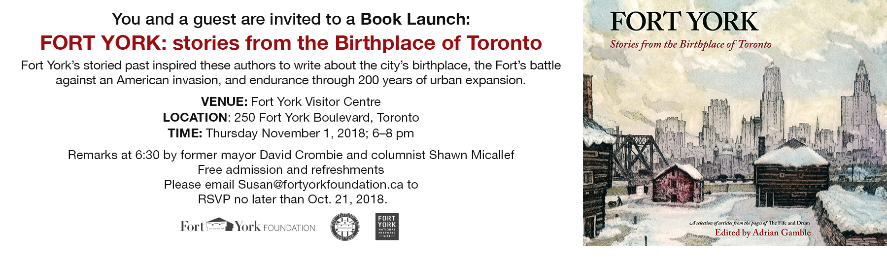 Book Launch: FORT YORK - Stories from the Birthplace of Toronto - Thu, Nov 1 @ 6:00pm